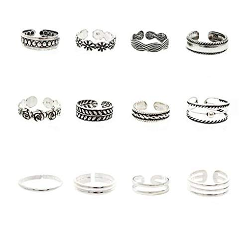 Timesuper 12PCS Vintage Toe Rings Set for Women Adjustable Knuckle Ring Open Foot Jewelry Set