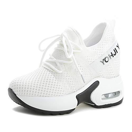 tqgold® Zapatos Deporte Mujer Zapatillas de Cuña Correr Gimnasio Zapatillas Altas Sneakers Tacón Plataforma 9CM