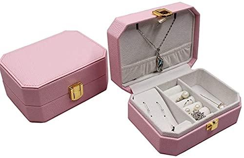 OH Caja de Joyería de una Capa Caja de Joyería de Cuero Collar Anillo de Alenamiento Joyería Caja de Alenamiento con Accesorios de Espejo Pendientes Organizador Moda/Rosado / 14 * 1