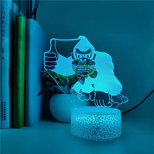 Modische Tier Orang-Utan 7D kreative kleine Tischlampe Acryl mehrfarbige kleine Nachtlicht kreative Dekoration kleine Tischlampe LED-Lampe mehrfarbige rissige Basis