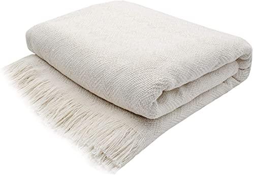 Manta con Flecos para sofá y Cama Multiuso (Ondulada Beige, 125x180CM)