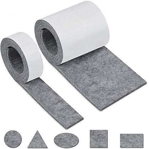 Filzgleiter Selbstklebend, Filz Selbstklebend 2 Rollen Filzband (100 * 10cm+100 * 2cm) Schneiden Sie es frei in Jede Form als Möbelgleiter mit starker Haftung aus umweltfreundlichem Material