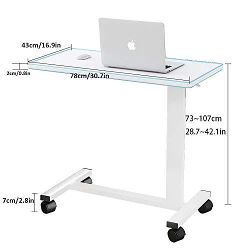 CHOUE Stahlrohr Stehtisch Höhenverstellbar mit White Density Board,Höhenverstellbar, Abschließbare Rollen,Laptop Möbel für Mahlzeiten, Lesen, Schreiben, Hobbys, Aktivitäten