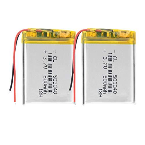 yfkjh 3.7v 600mah 503040 batería de polímero de litio de litio, 40x30x5mm Li-Po batería para grabadora de voz Altavoz e-Book 2pcs