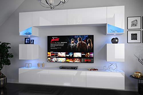 Home Direct S2, Modernes Wohnzimmer, Wohnwände, Wohnschränke, Schrankwand, Möbel (Front: Weiß Hochglanz/Korpus: Weiß Matt S2-HG-W2-(AB) 1A klein, LED RGB 16 Farben)