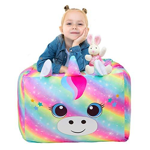 Beinou Funda para puf de unicornio con diseño de arcoíris para juegos, gran sala de estar, sofá reclinable, silla de jugador, almacenamiento de terciopelo para niños y niñas, 61 x 61 cm, solo funda