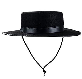 Tigerdoe Spanish Hat - Gaucho Hat Amish Hat Black Fedora Flat Top - Costume Hats