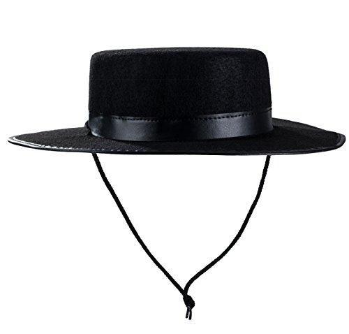 Tigerdoe Spanischer Hut Gaucho Hut Amish Hut Schwarz Fedora Flat Top Kostüm Hüte