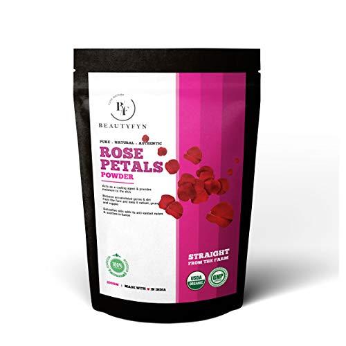 BEAUTYFYN Truly Organic & 100% Natural Organic Rose Petal Powder For Skin, Face Pack Mask 200gm/7.05 Oz