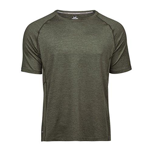 Tee Jays Cool Dry Herren T-Shirt, Kurzarm (L) (Olivgrün meliert)