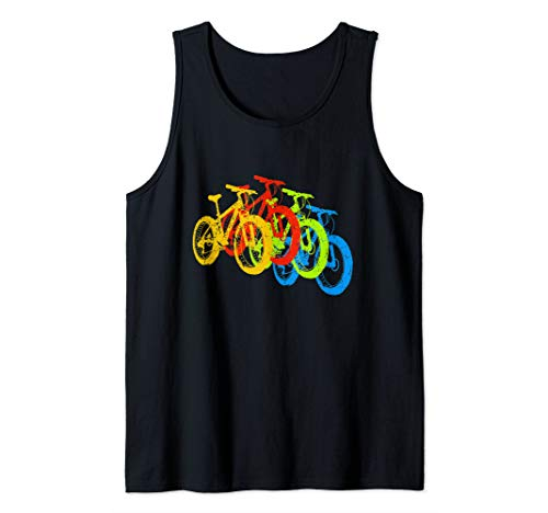 Retro Vintage Mountain Bike MTB Cyclist Color Bicycles Tank Top