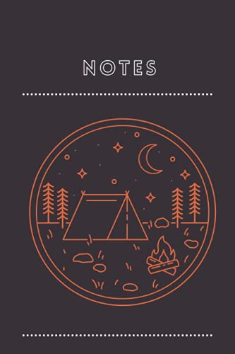 """NOTES: 6x9"""" 120 page pocket notebook black with outdoor adventure landscape icon"""