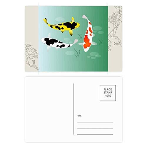 DIYthinker Voorwaardelijke Chinese vis verzamelen bloem ansichtkaart Set Thanks kaart mailing kant 20 stks 5.7 inch x 3.8 inch Multi kleuren