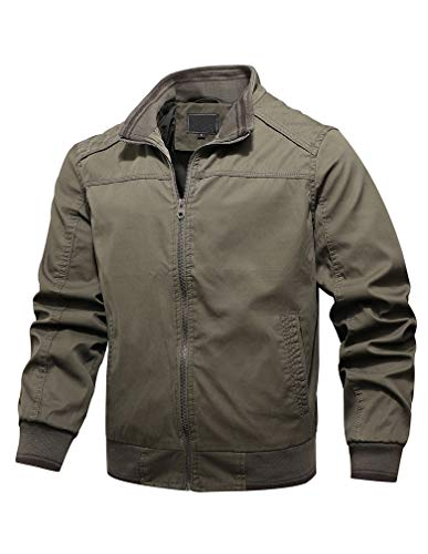 Tebreux Men's Cotton Bomber Jacket Casual Windbreak Outwear Stand Collar Zipper Coat Army Green 2XL