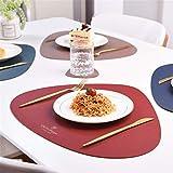 4er Set/6er Set Platzsets und Untersetzer Dreieck Oval Leder Tischset Wassertropfen Abwischbar Tischmatte Wasserdicht ölbeständig Rutschfestes Hitzebeständiges Platzsets (Beige,6er) - 5