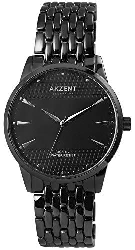 Akzent - Reloj de pulsera analógico para hombre (cuarzo, metal), color negro