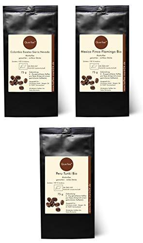 3 x Bio Kaffee Geschenkset Probierset - Colombia Excelso Sierra Nevada, Mexico Finka Flamingo, Peru Tunki - Bio Röstkaffee Pantagenkaffee - 100 % Arabica - gemahlen - 3 x 75 g (225 g insgesamt)