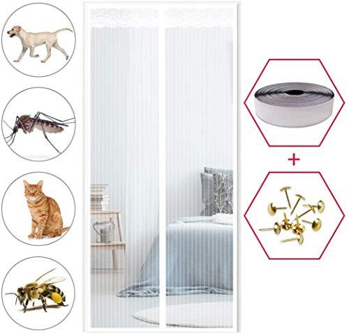 KK-Luftbefeuchter Fliegengitter Tür 115x205cm, Magnetisch Magnetvorhang Insektenschutz Ohne Bohren für Balkontür Wohnzimmer Terrassentür - Weiß