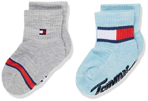 Tommy Hilfiger TH Baby Sock 2p Run Free Abs Calcetines, Multicolor (Blue Combo 516), 23-26 (Talla del fabricante: 023) (Pack de 2 para Bebés