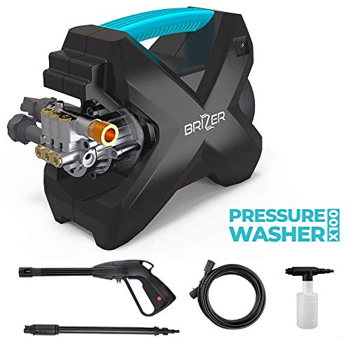 Brizer X100 Compact Electric Pressure Washer 1600 PSI, 1.6 GPM Power Washer with Spray Gun and Foam Cannon, 15ft High Pressure Hose, Light Weight and Portable