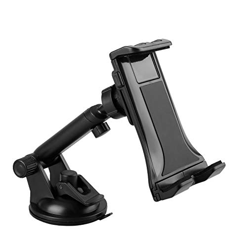 Car Tablet Mount Holder, 2 in 1 Universal Windshield & Dash Mount, Adjustable Car Phone Holder with Suction Cup Compatible with Samsung Galaxy/iPad Mini/iPad Air/iPad Pro/iPhone