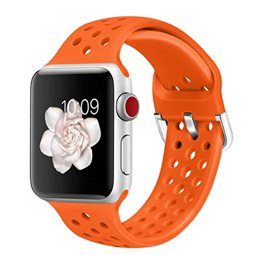 Banda de goma para Apple Watch SE 6 4 5 40mm 44mm Correa transpirable deportiva de silicona suave para iWatch Series 5 4 3 2 1 38MM 42MM