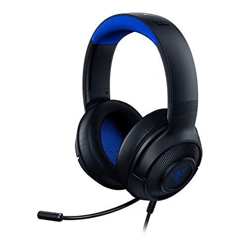 Razer Kraken X para Consolas - Auriculares Gaming Ligero para PC, Mac, PS4, Xbox One & Switch con sonido Envolvente 7.1, Controles en los Auriculares, Negro/Azul (for Console)