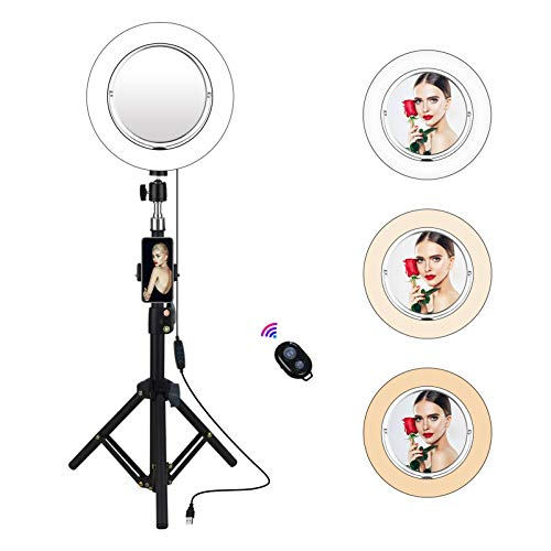 """Yefound 9"""" Selfie Ring Light with Makeup Mirror, Led Ring Light with Tripod Stand & Cell Phone Holder Smartphone Remote for Live Stream/YouTube Video/Photography."""