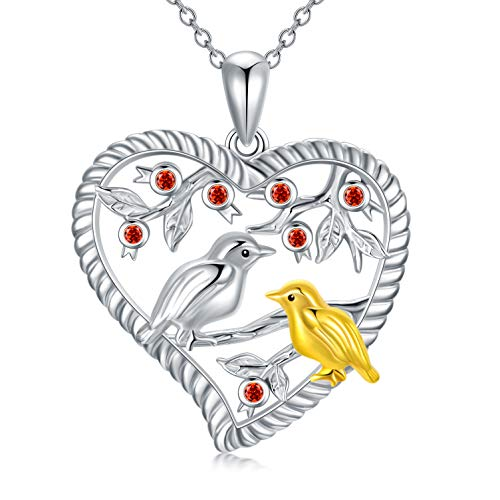 LONAGO Bird Necklace 925 Sterling Silver Tree of Life with Cute Birds Pendant Necklace Jewelry for Women