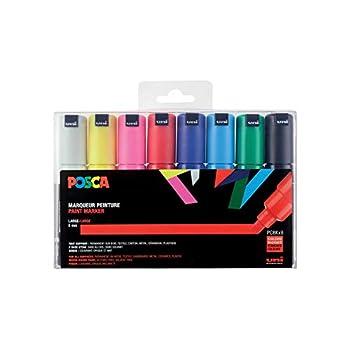 uni-ball uni Posca PC8K8C Paint Marker Pen Set Large Tip 8 Pieces - Assorted Colours