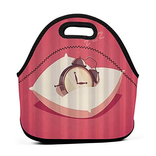 ADONINELP Bolsa de almuerzo Bolsa Bento portátil,reloj despertador para dormir,paquete de neopreno con cremallera para la escuela,trabajo,oficina,bolso de viaje