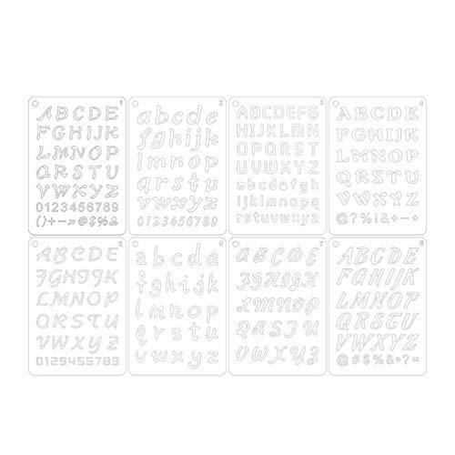 HEALLILY 8 Piezas Letras Del Alfabeto Dibujo Plantillas de Plantillas de Escala Conjuntos para Bullet Journal Stencil Planner Scrapbook Diy Painting Craft Projects (White)