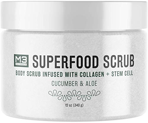 M3 Naturals Superfood Scrub infused with Collagen and Stem Cell Natural Cucumber and Aloe Body Face Wash Exfoliating Facial Cleanser for Acne Cellulite Wrinkles Scars Skin Care 12 oz