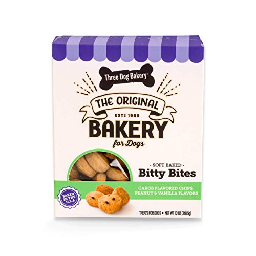 Three Dog Bakery Bitty Bites Trio Soft Baked Cookies for Dogs, Three Flavor Pack; Carob Chip, Peanut, and Vanilla, 13 Ounce Box
