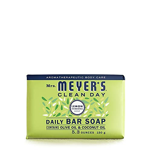 Mrs. Meyer's Clean Day Bar Soap, Use as Body Wash or Hand Soap, Cruelty Free Formula, Lemon Verbena Scent, 5.3 oz