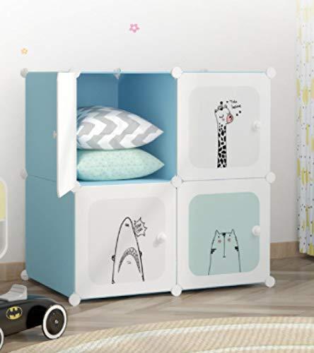 yqtoy Garderobeset voor kinderen, met cartoon-tekening, minimalistisch, moderne opbergkast voor baby's, opbergkast van kunststof, voor kinderkamer Blauw 4