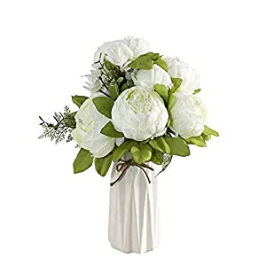 Uworld Artificial Flowers Real Looking Fake Peony for Party,DIY Wedding Bouquets Home Centerpieces(Spring White)