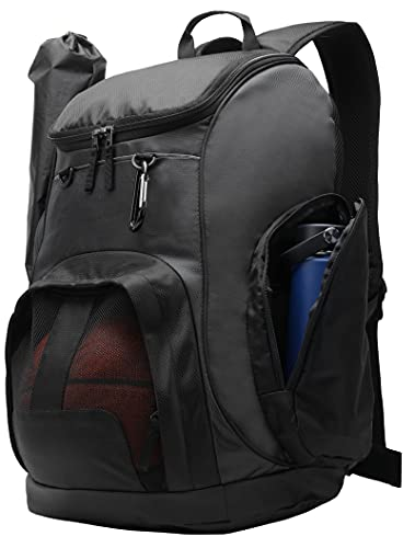 MIER Large Sports Backpack with Pocket for Swim, Outdoor, Gym, Basketball, 40L, Black