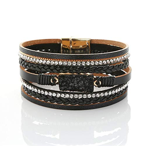 Leather Bracelet, Multi-layer Winding Bracelet Clasp Magnet Lady Pu Leather Crystal Diamond Bracelet (length 19.5m, Width:2.5cm) black - Braided Bracelet