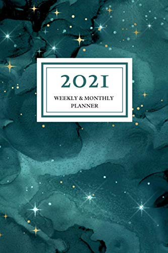 2021 Weekly & Monthly Planner: Teal Green Watercolor Galaxy, January 2021 – December 2021, 6 x 9 sized, Calendar and Organizer, Soft Flexible Cover Minimalist Planner