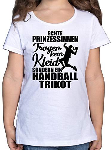 Sport Kind - Echte Prinzessinnen tragen kein Kleid sondern EIN Handball Trikot - schwarz - 128 (7/8 Jahre) - Weiß - Echte Prinzessinnen tragen kein Kleid sondern EIN Handball Trikot - F131K