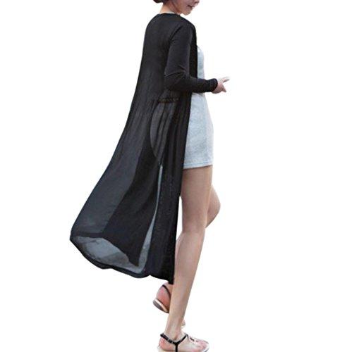 DEELIN Nuevas Mujeres De Moda Boho Beach Gasa Larga Cardigan Kimono Chaqueta Kaftan Vestido Largo (One-Size, Negro)