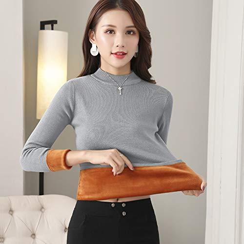 Haoxiaren Sweater Damen Thermo-Unterwäsche-Pullover Dicker Warmer Langer Fester O-Ausschnitt Herbst Winter Samt Pullover Für Frauen