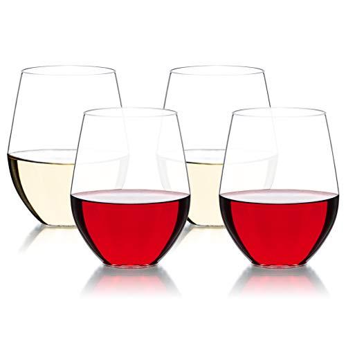 MICHLEY Unzerbrechlich Tritan-Kunststoff weingläser 470 ml trinkglas gläser fur Camping Party, BPA-frei plastik Tasse 4er set