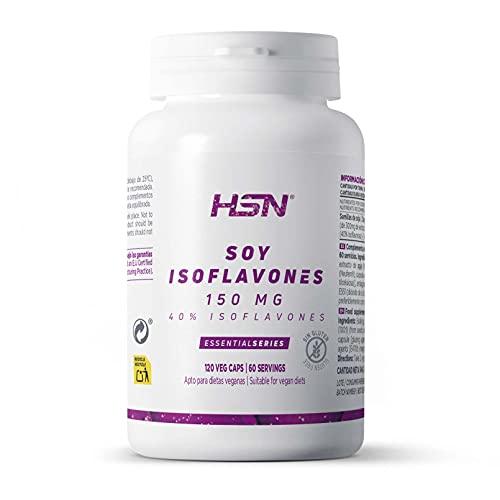 Isoflavonas de Soja de HSN | 150mg 40% Isoflavonas | Suministro para 2 Meses | Combate los Síntomas de la Menopausia: Bochornos, Sofocos | Vegano, Sin Gluten, Sin Lactosa, 120 Cápsulas Vegetales