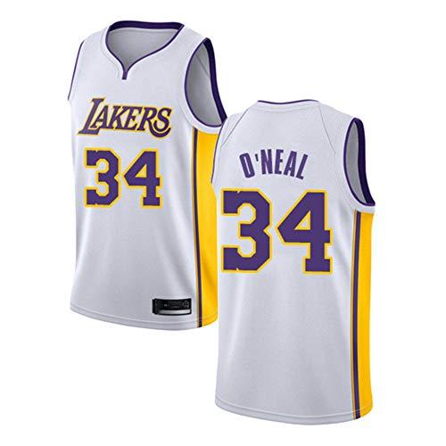 Ropa de Baloncesto para Hombres NBA Los Angeles Lakers # 34 Shaquille O'Neal Classic Retro Bordado Jersey, Unisex Fan de Baloncesto Sin Mangas Capacitación Deportiva,Blanco,XL