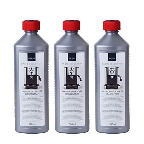 3er Pack BEEM PREMIUM ENTKALKER KONZENTRAT - 0,5 l | Anwendung bei Kaffeevollautomaten, Kaffeemaschinen, Kocher, Samoware | Kalklöser | Kalkreiniger