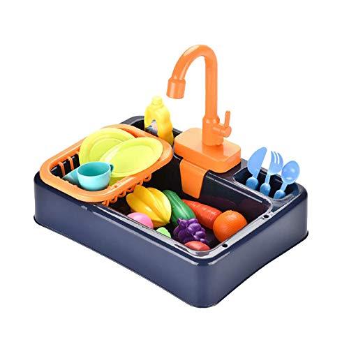 SunniMix Spielen Waschbecken Spielzeug, Elektrische Spülmaschine Spielen Spielzeug mit Fließendem Wasser, Pretend Play Küche Spielzeug Set, mit Playfood und - Blau