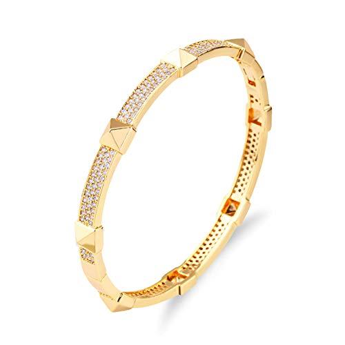 Z&HA Damen-Goldarmband - 18K Gold plattiert Damen-Klassiker-Armband, Modisches Gold/Silber-Armband für den täglichen professioneller Schreibtisch,02