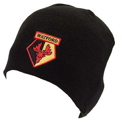 Watford Fc Black Beanie Knitted Winter Hat Adults One Size
